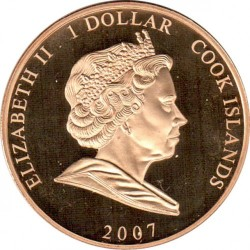Монета > 1 долар, 2007 - Острови Кук  (60th Anniversary - Wedding of Queen Elizabeth II and Prince Philip /Wedding cake/) - obverse