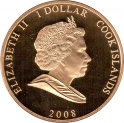 Moneda > 1 dólar, 2008 - Islas Cook  (60th Anniversary - Wedding of Queen Elizabeth II and Prince Philip /Elizabeth in green hat/) - obverse
