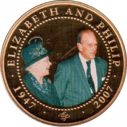 Монета > 1 долар, 2008 - Острови Кука  (60th Anniversary - Wedding of Queen Elizabeth II and Prince Philip /Elizabeth in green hat/) - reverse
