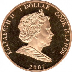 Moneta > 1 doleris, 2007 - Kuko Salos  (60th Anniversary - Wedding of Elizabeth II and Prince Philip /Head of Elizabeth and Philip/) - obverse
