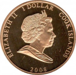 Moneda > 1 dólar, 2008 - Islas Cook  (60th Anniversary - Wedding of Queen Elizabeth II and Prince Philip /Elizabeth in blue hat/) - obverse
