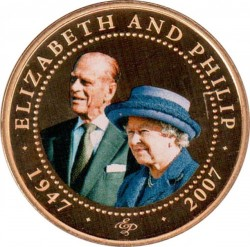 Moneda > 1 dólar, 2008 - Islas Cook  (60th Anniversary - Wedding of Queen Elizabeth II and Prince Philip /Elizabeth in blue hat/) - reverse