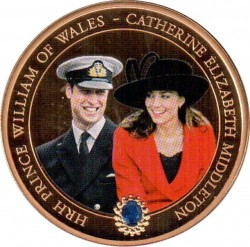 Coin > 1 dollar, 2011 - Cook Islands  (Wedding of Prince William and Kate Middleton /Kate in black hat/) - reverse
