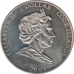 Münze > 1Dollar, 2007 - Cook Islands  (60th Anniversary - Wedding of Queen Elizabeth II and Prince Philip /Elizabeth in wedding veil/) - obverse
