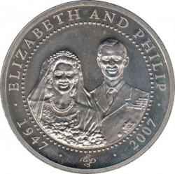 Münze > 1Dollar, 2007 - Cook Islands  (60th Anniversary - Wedding of Queen Elizabeth II and Prince Philip /Elizabeth in wedding veil/) - reverse