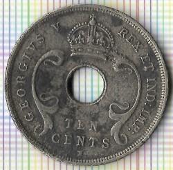 Moneta > 10centów, 1911-1918 - Brytyjska Afryka Wschodnia  - obverse