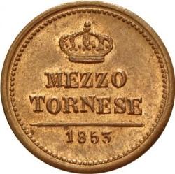 Кованица > ½tornese, 1853-1854 - Две Сицилије  (Large head) - reverse