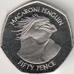 Moneta > 50pensų, 2018 - Folklando Salos  (Macaroni Penguin (Eudyptes chrysolophus)) - reverse