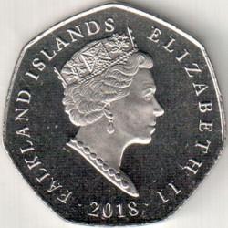 Монета > 50пенса, 2018 - Фолкландските острови  (King Penguin (Aptenodytes patagonicus)) - obverse