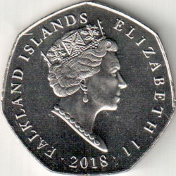Монета > 50пенсів, 2018 - Фолклендські острови  (Magellanic Penguin (Spheniscus magellanicus)) - obverse