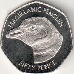 Кованица > 50пенија, 2018 - Фокландска Острва  (Magellanic Penguin (Spheniscus magellanicus)) - reverse