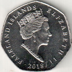 Монета > 50пенсов, 2018 - Фолклендские острова  (Северный хохлатый пингвин (Eudyptes moseleyi)) - obverse