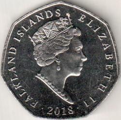Монета > 50пенсов, 2018 - Фолклендские острова  (Субантарктический пингвин (Pygoscelis papua)) - obverse