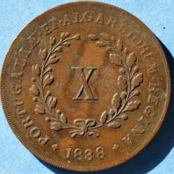 Монета > 10рейса, 1838-1839 - Португалия  - reverse