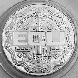 Coin > 25ECUs, 1992 - Netherlands  (Royal Family Visits Netherlands Antilles) - reverse