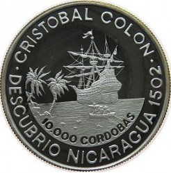 Münze > 10000Cordoba, 1989 - Nicaragua   (Discovery of Nicaragua by Columbus) - obverse