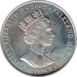 Coin > 50 pence, 2002 - Falkland Islands  (50th Anniversary - Accession of Queen Elizabeth II, Weekend finale) - obverse