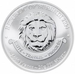 Coin > 5000francs, 2014 - Burundi  (History of Aviation - Yakovlev YAK-7B) - obverse