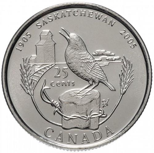 Canada 2005 Saskatchewan 25 Cent  Mint Coin.