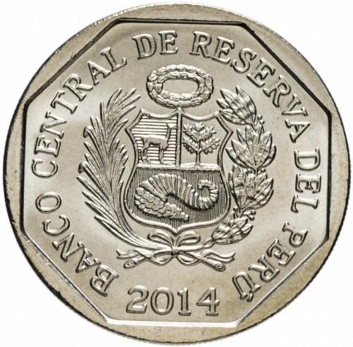 PERU COIN 1 Nuevo Sol KM379 UNC 2014 Ciudad Sagrada de Caral