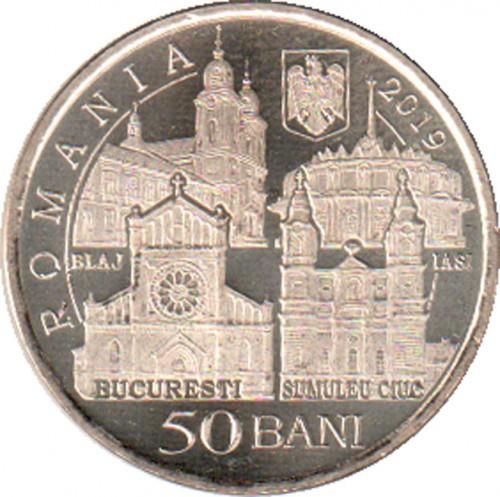 2019 COIN UNC ROMANIA 50 BANI POPE FRANCIS VISIT TO ROMANIA COMM