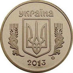 Pièce > 1hryvnia, 2013 - Ukraine  (Blason sur la face) - obverse