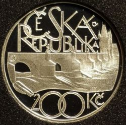 Moneda > 200 coronas, 2007 - República Checa  (650th Anniversary - Charles Bridge) - obverse