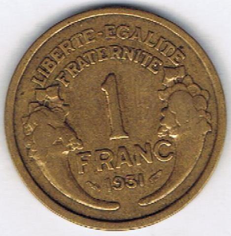 Francja 1 Frank 1931 1941 Km 885 Katalog Monet