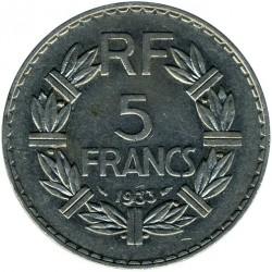 Moneda > 5francs, 1933-1938 - França  - reverse