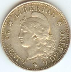硬币  /> 20分, 1881-1883 - 阿根廷 - reverse