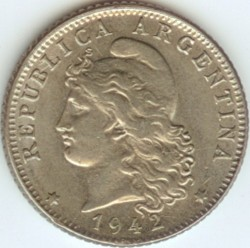 Münze > 20Centavos, 1942 - Argentinien   (Kupfernickel / grau) - obverse