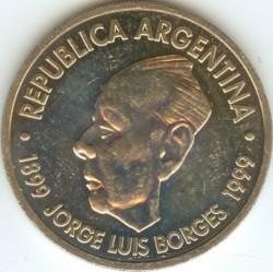 Moneta > 2pesos, 1999 - Argentina  (100° anniversario - Nascita di Jorge Luis Borges) - obverse