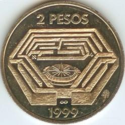 Moneta > 2pesos, 1999 - Argentina  (100° anniversario - Nascita di Jorge Luis Borges) - reverse