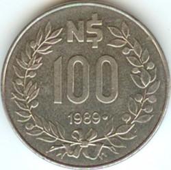Moneda > 100nuevospesos, 1989 - Uruguay  - reverse