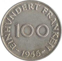 Coin > 100francs, 1955 - Saar  - reverse