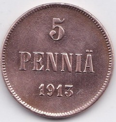 Moneta > 5penniä, 1896-1917 - Finlandia  - obverse