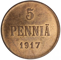 Mynt > 5penniä, 1917 - Finland  (Eagle on reverse) - obverse