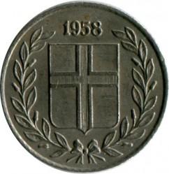 Mynt > 10aurar, 1958 - Island  - obverse
