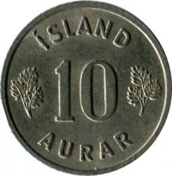 Mynt > 10aurar, 1966 - Island  - reverse