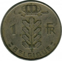 Coin > 1 franc, 1956 - Belgium  (Legend in French - 'BELGIQUE') - obverse