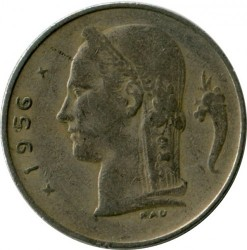Coin > 1 franc, 1956 - Belgium  (Legend in French - 'BELGIQUE') - reverse