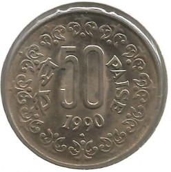 Mynt > 50paise, 1990 - India  (Copper-Nickel /non-magnetic/) - obverse