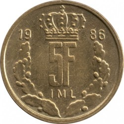 Кованица > 5франака, 1986-1988 - Луксембург  - reverse