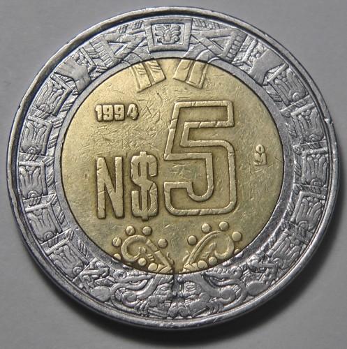 5 new pesos 1992-1995, Mexico - Coin value - uCoin net