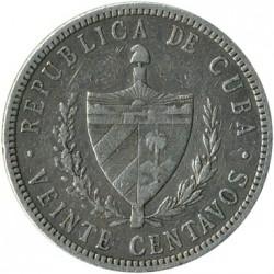 Coin > 20centavos, 1915-1949 - Cuba  - obverse