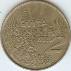 Moneda > 2pesos, 2002 - Argentina  (50 Aniversario - Muerte de María Eva Duarte de Perón) - reverse