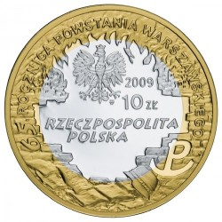 Moneda > 10zlotych, 2009 - Polonia  (65 aniversario - Revuelta de Varsovia - Krzysztof Kamil Baczyński) - obverse