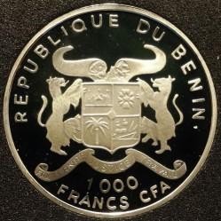 Moneda > 1000francos, 1996 - Benín  (World Cup Soccer - France 1994) - obverse