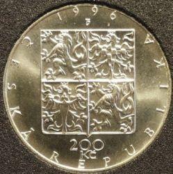 Moneda > 200coronas, 1996 - República Checa  (100th Anniversary - Czech Philharmonic) - reverse