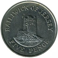 Moeda > 5pence, 1983-1988 - Jersey  - reverse
